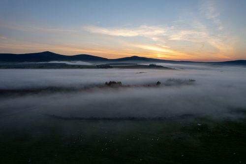 Fog over the irish countryside