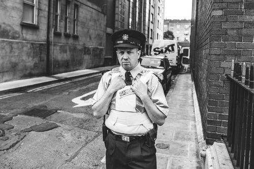Grumpy policeman